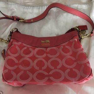 Coach Madison Op Art shoulder bag, salmon pink